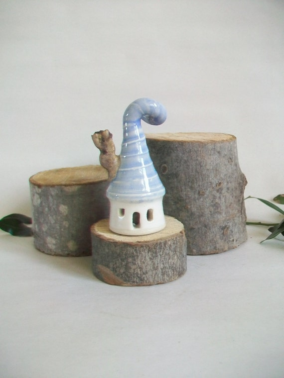 Garden Fairy House - With a Pale Blue Curly Roof  -  Handmade, Wheel Thrown
