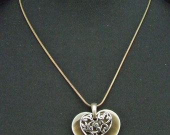 Beautiful Silver Tone Elegant Earthy Intricate Carved Heart with Stone Heart Double Heart Pendant Necklace ATCTTEAM