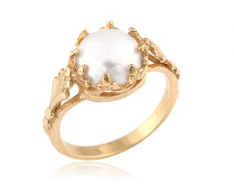 14k Gold Freshwater Cultured Pearl Engagement Ring, Unique Engagement Ring