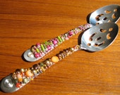 CUSTOM Beaded Slotted Spoon - Your CHOICE of COLOR - Hostess Gift -  Holiday Gift Idea - Cooks Gift Idea - Shower Gift - Wedding Gift