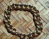 Vintage Carol Lee curb link gold metal collar necklace