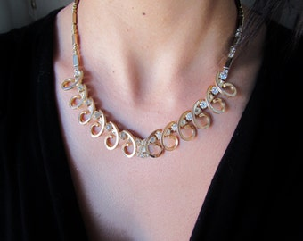 SALE- Was 58- Vintage 1960s Cocktail Necklace With Rhinestones