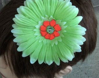 Lime Green Hair Flower Brooch With Orange Flower Center *Free Shipping*