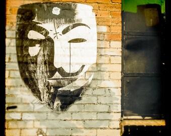 Graffiti Art, Fine Art Photography, Street Art, Vendetta Mask, Dallas Texas, Art Print, White Mask, Print, movie lovers, Cityscape, Wall Art