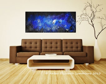 """Made to Order Huge Original Painting 60"""" Once Upon a Sapphire Dream 4 Piece Gallery Wrapped Canvas Amber Lamoreaux Modern Owls Stars Blue"""