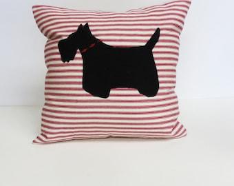 Black Felt Scottie Pillow, Decorative Black Felt Scottie Pillow, Decorative Accent Pillow, Red Ticking Stripe Cotton Pillow, Dog Pillow