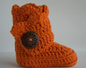 Pumpkin Orange Infant Crochet Scallop Wrap Boots- Choose Your Size