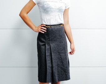 Vintage Celine Grey Wool Skirt