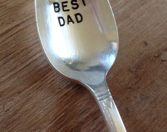 Vintage Silverware Silver Plate BEST DAD Hand Stamped Spoon for Father's Day