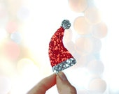 Red and Silver Santas Hat Hair Clip - Miniature Hat - Shimmering Fabric on Metal Hair Clip - Christmas Party Must Have