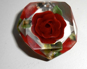 Vintage Red Rose Brooch Pin in Clear Lucite Plastic