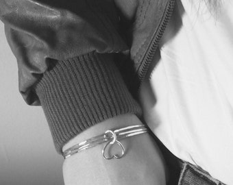 Sterling silver charm bangle bracelet heart bangle Sterling silver bangle bracelet set Hammered Silver bangles stacking bangle layering