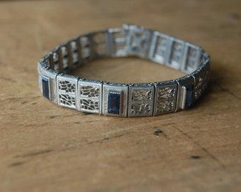 Art Deco 1930s fine filigree line bracelet ∙ SOMETHING BLUE
