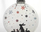 Snow Bunnies Christmas Holiday Ornament