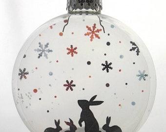 Snow Bunnies Christmas Holiday Ornament