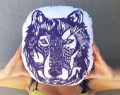 Plush Wolf Pillow. Hand Woodblock Printed. 16 inches. Pick your colors. Made to Order.