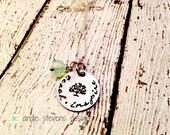 Teacher Gift Hand Stamped Necklace Teach Inspire Tree design Swarovski crystal dangle silvertone