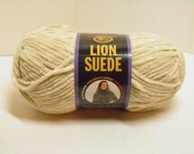 Lion Brand Suede Yarn Skein Suede Ecru Yarn Bulky Weight Yarn Rare DISCONTINUED