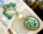 Emeralds & White Violets, Vintage Hand Painted Porcelain,Carved Rose,Freshwater Pearls,Genuine Emerald Gold Plated Chain Assemblage Necklace