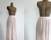 vintage 1970s skirt - pale pink accordion pleated sheer midi skirt