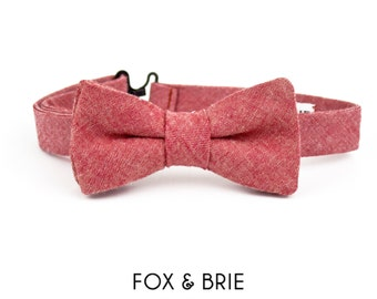 Red Chambray Kids Bow Tie