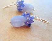 Blue Lace Agate and Tanzanite Cluster Sterling Silver Earrings