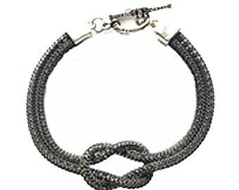 SilverSilk Hematite Love Knot Bracelet