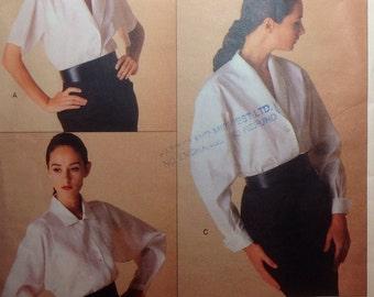 Vintage Vogue American Designer Pattern Perry Ellis Blouse Size 8-10-12 Uncut 1988
