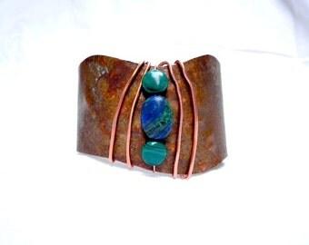 Copper Cuff Bracelet with Azurite and Malachite Semi Precious Stones