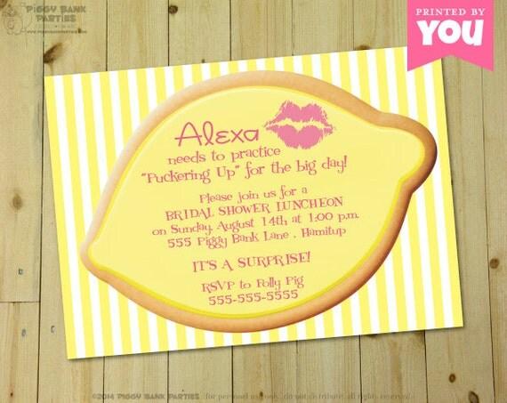 Up Themed Wedding Invitations: PUCKER UP Invitation : Personalized DIY Printable Lemon Themed
