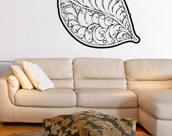 Vinyl Wall Art Decal Sticker Leaf with Swirls OSAA1723m