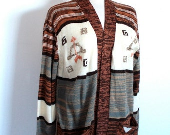 Vintage 1970's Brown Striped Bow and Arrow Design Sweater Cardigan // That 70's Show