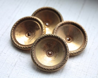 4 Large Gold Vintage Shank Buttons -New Old Stock Buttons-Coat Buttons