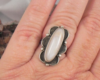 White Agate Sterling Ring