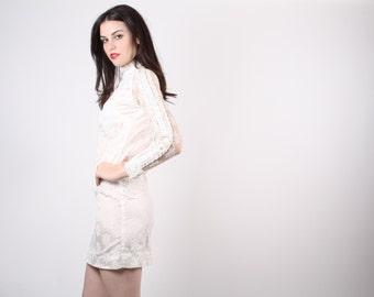 60s Mod Lace Wedding Dress  - 60s Short Wedding  Dress - The Something Blue Dress - 5046