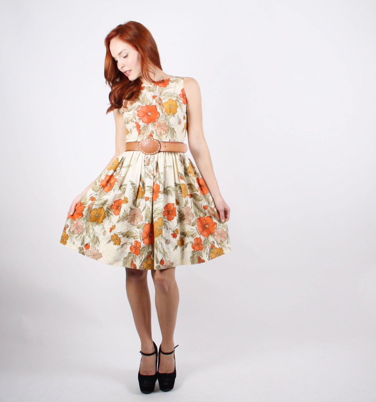 50s Orange Rose Floral Dress 1950s Orange Dress 50s Floral
