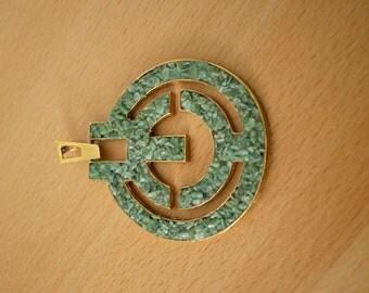 SALE PRICE1970s Costume Jewelry Gold and Green Pebble Asian/ Greek Key / Art Deco Design Pendant
