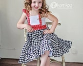 Girls Red, White and Blue Flutter-Sleeve Dress with Bib Apron -- 4th of July -- Sizes 12M to 9/10