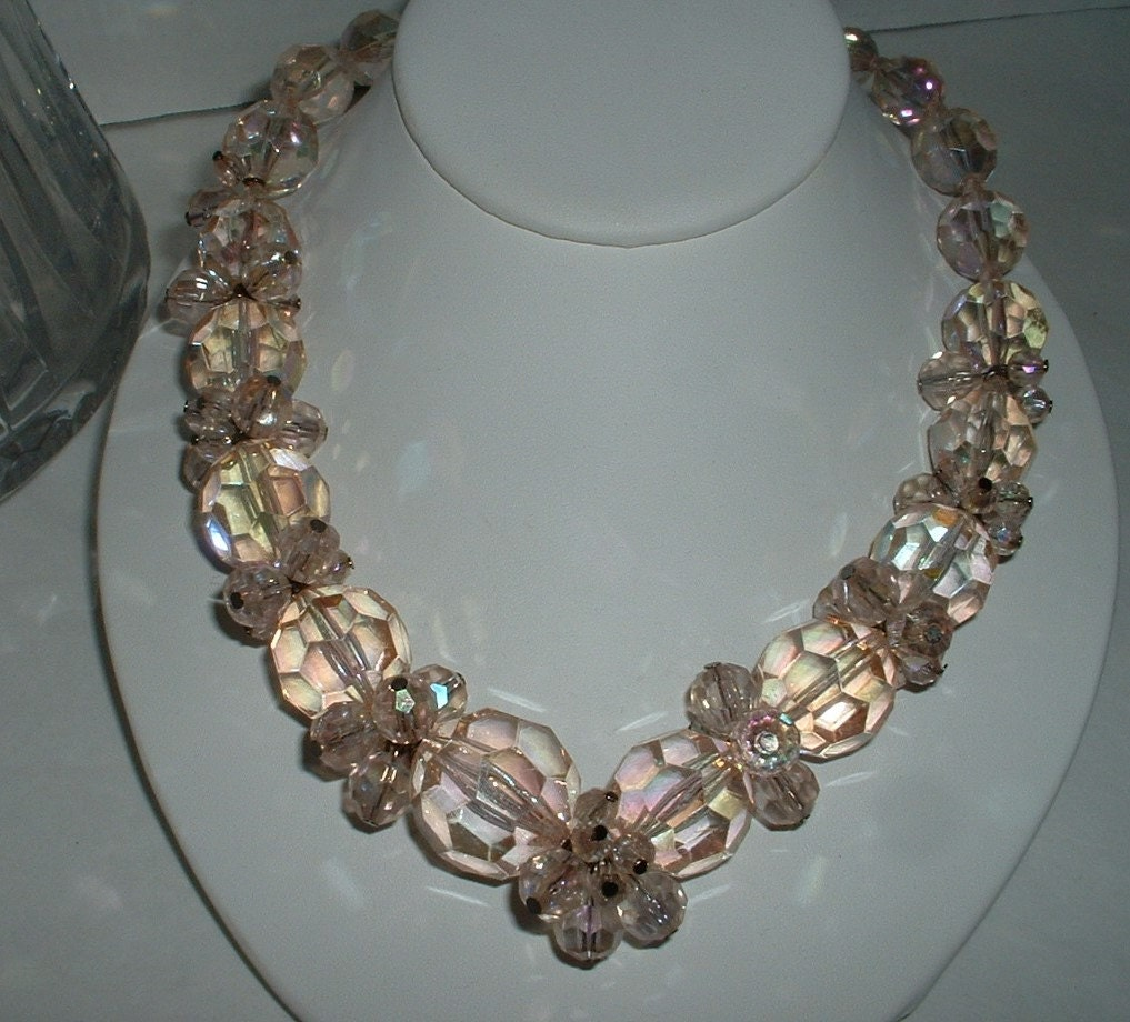 Crystal Bead Beads: Vintage LUCITE Necklace Large Beads Pink Faceted Crystal