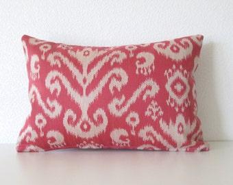 Raspberry ikat - 12x18 lumbar pillow cover
