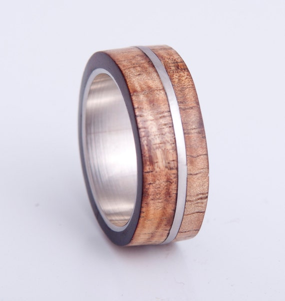 Mens Wedding Ring With Curly Hawaiian Koa Wood By Aboutjewelry