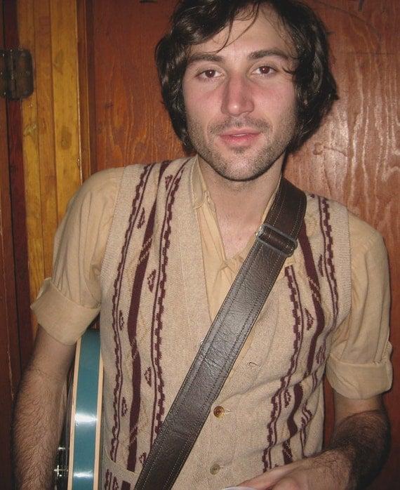 Brown Deadstock Luggage Guitar Strap- Vegan USA