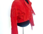 Vintage 80's Cropped Red Suede Leather Jacket with Fringe on Sleeves and Chest by Yucatan Bay