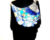 Vintage 70's/80's Over-Sized Silk Sequined Top with Off-the-Shoulder Fit by SHOMAX