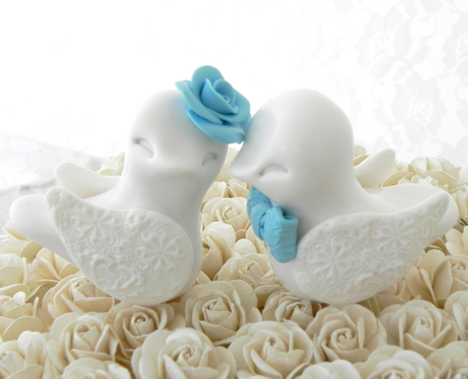 Romantic Wedding Cake Topper Love Birds White and by LavaGifts