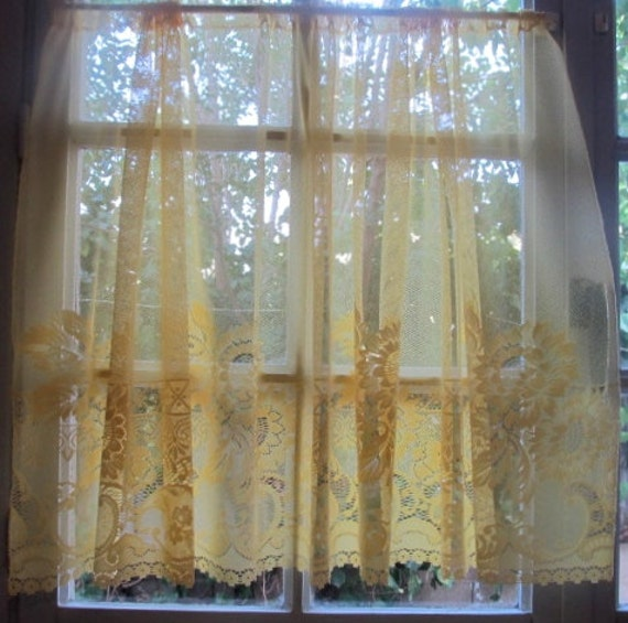 french cafe curtain yellow sheer lace panels with sunflowers