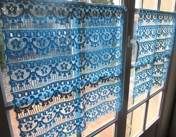 Blue Cafe Curtains Pair Kitchen Curtains Lace Curtains