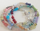 Multi-colored & Mixed Gemstone Wrap Bracelet OR Necklace