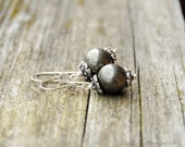 Sterling Silver and Pyrite Drop Dangle Earrings