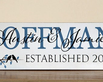 Family Name Sign, Etablished Sign, Personalized Name Plaque, Great Anniversary Gift